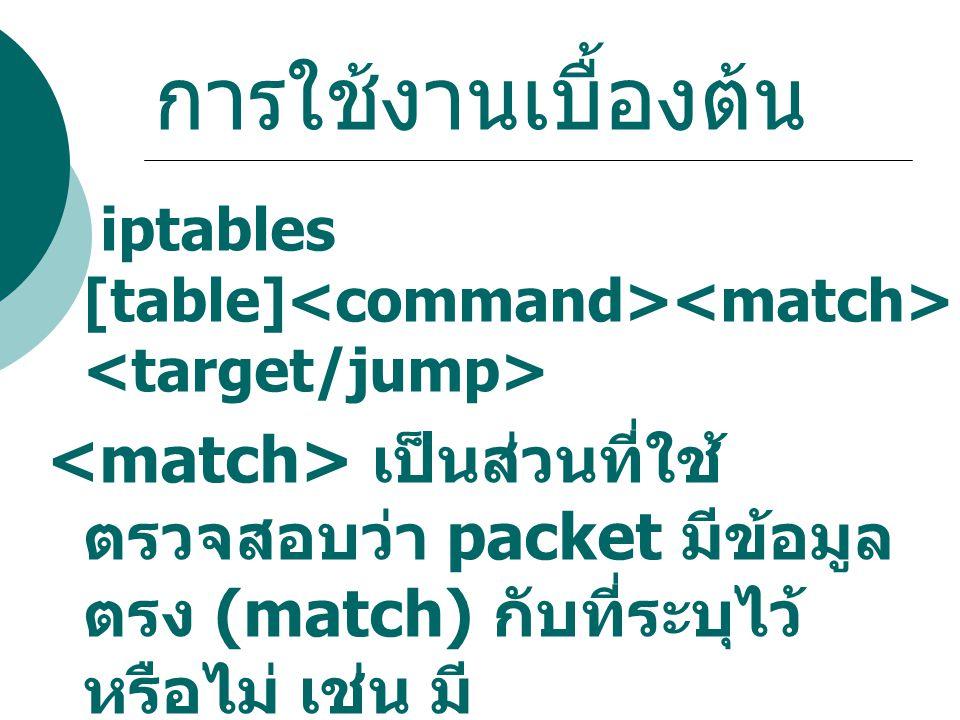 การใช้งานเบื้องต้น iptables [table]<command><match><target/jump>